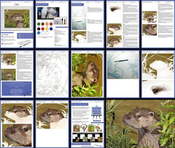 Overview image of an otter pdf watercolor tutorial