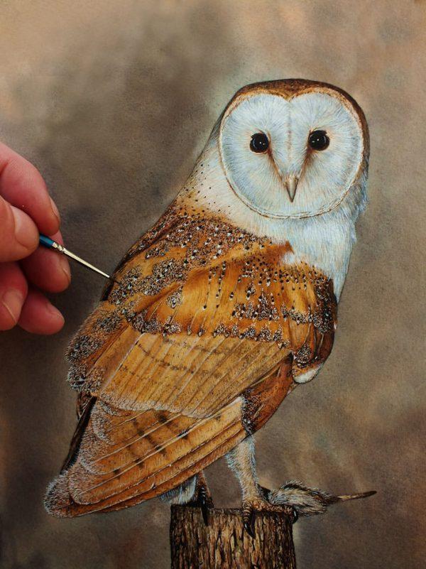 Paul Hopkinson watercolour tutorial on painting a barn owl