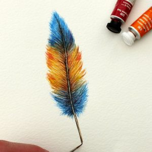 Feather watercolor painting, original artwork