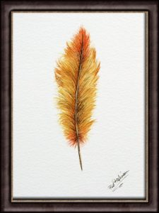 "Original Watercolour Feather Illustration, Fine Art Painting -  ""Autumn"""