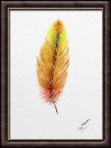 "Feather Painting ""Golden Glow"" - Illustration Style Fine Art"