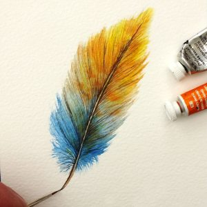 Paul Hopkinson painting colourful feathers
