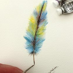 Feather Original Watercolour Painting, Affordable Art