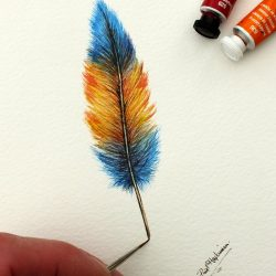 Original Watercolor Feather Painting