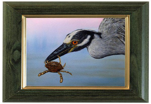 Original watercolour heron painting by Paul Hopkinson, displayed framed