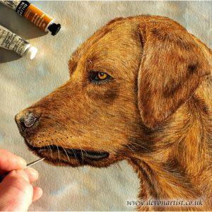 Paul Hopkinson painting a watercolour dog portrait