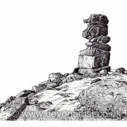Dartmoor landscape pen and ink by Paul Hopkinson, Bowerman's Nose
