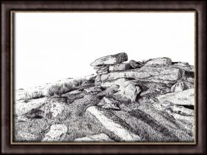 Ink Illustration of a Dartmoor Tor - Lynch Tor Landscape