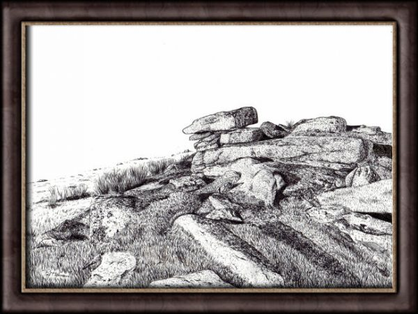 Dartmoor Tor painting by Paul Hopkinson shown in a frame