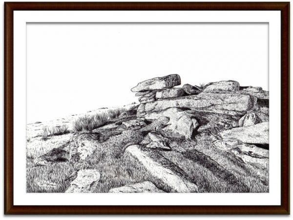 Dartmoor landscape painting Paul Hopkinson mounted and framed