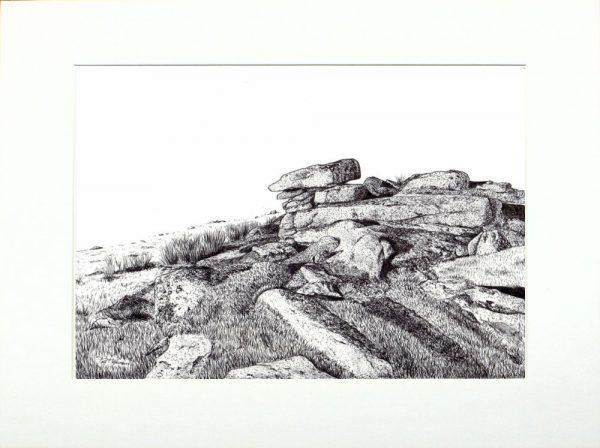 Dartmoor tor landscape by Paul Hopkinson in a neutral mount