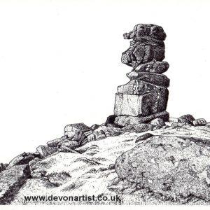 Dartmoor Tor pen & ink landscape by Paul Hopkinson