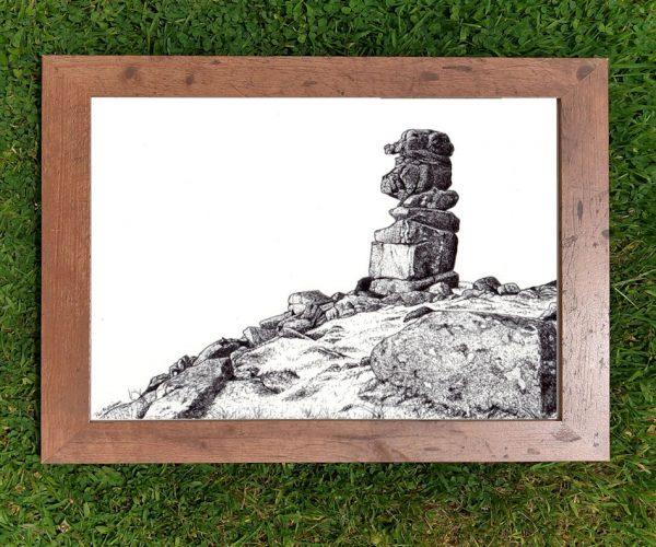 Framed Dartmoor landscape drawing by Paul Hopkinson