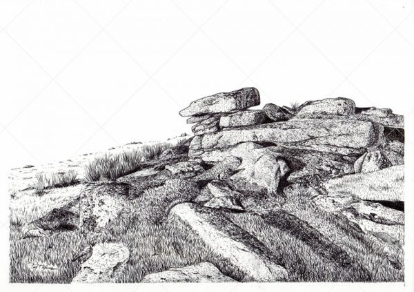 Lynch Tor ink drawing by Paul Hopkinson