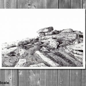 Pen and ink drawing of Dartmoor by Paul Hopkinson displayed on a wall