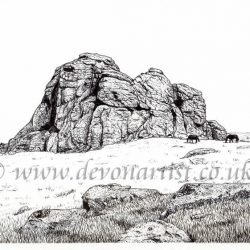 Dartmoor landscape pen and ink by Paul Hopkinson, Haytor