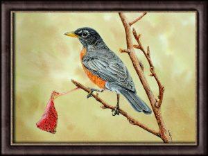 Original Watercolor Robin Painting - Illustration, fine-art detail