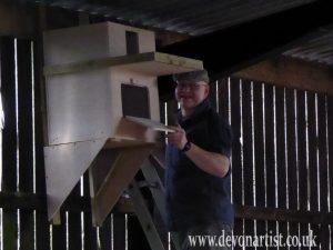 Installing a barn owl box in a Devon village, step 3