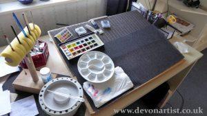 Paul Hopkinson, studio painting area