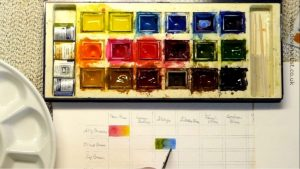 Colour swatch of watercolour paints made easy