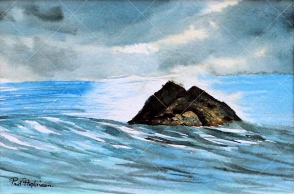 Rocky island landscape painted in watercolor by Paul Hopkinson