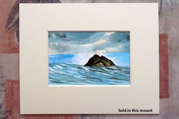 Rocky island landscape painted in watercolour by Paul Hopkinson