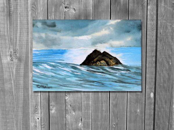Watercolor painting of a island in the sea by Paul Hopkinson on wood panelling