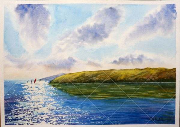 Watercolour landscape painting of the sea with wind surfers