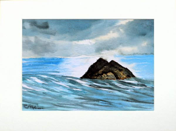 Watercolour painting of a rocky island by Paul Hopkinson in neutral mount