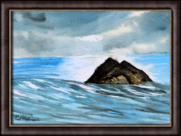 Watercolour painting of a rocky island by Paul Hopkinson photographed in a frame