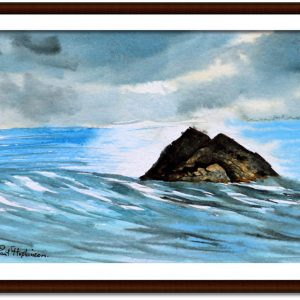 Watercolour painting of an ocean landscape by Paul Hopkinson mounted and framed