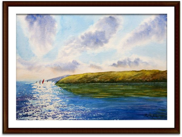 Watercolour sailing boats on the water by Paul Hopkinson mounted and framed