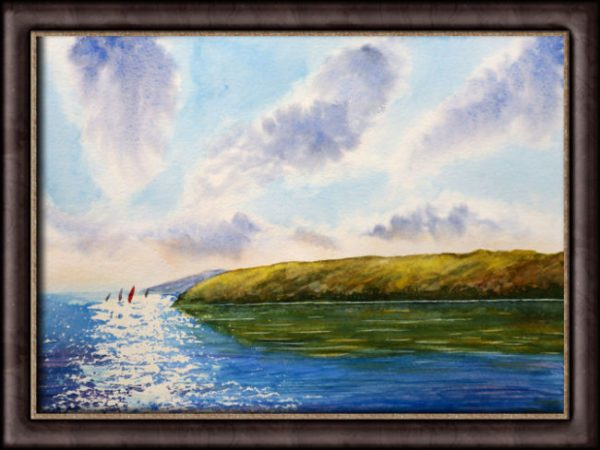 Watercolour seascape by Paul Hopkinson photographed in a frame