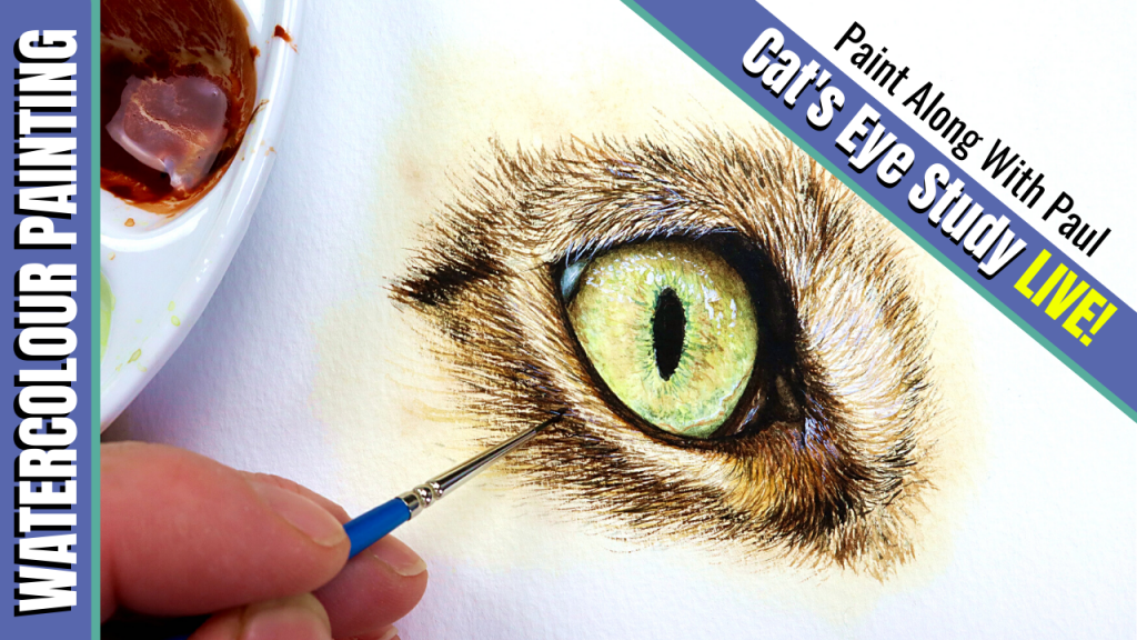 Free tutorial on painting a cat's eye in watercolor
