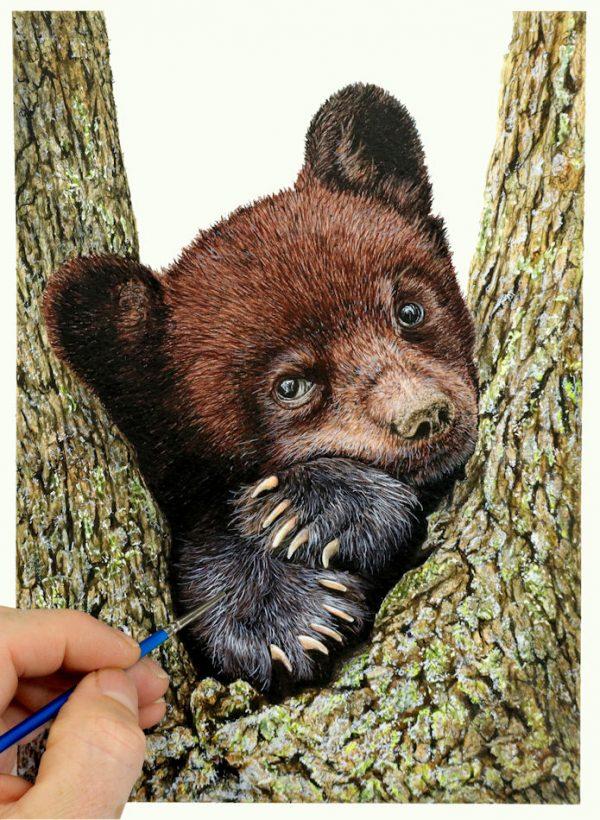 Paul Hopkinson painting a bear cub in watercolour