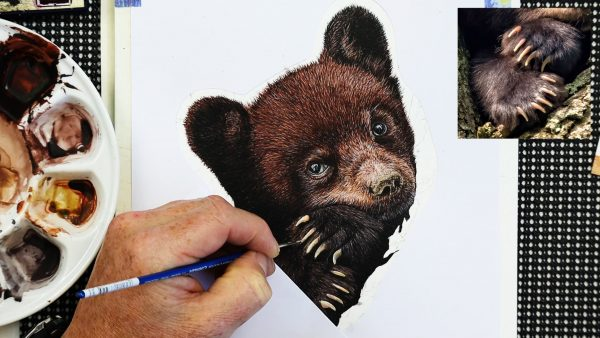 Work in progress bear watercolor painting lesson stage 3