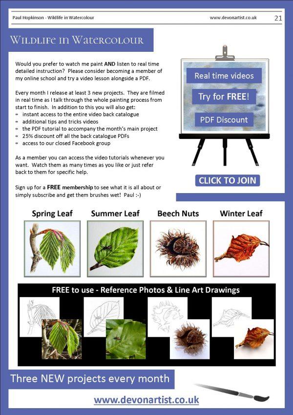 Botanical watercolor pdf tutorials by Paul Hopkinson