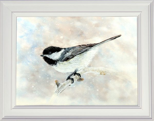 Chickadee watercolor painting framed