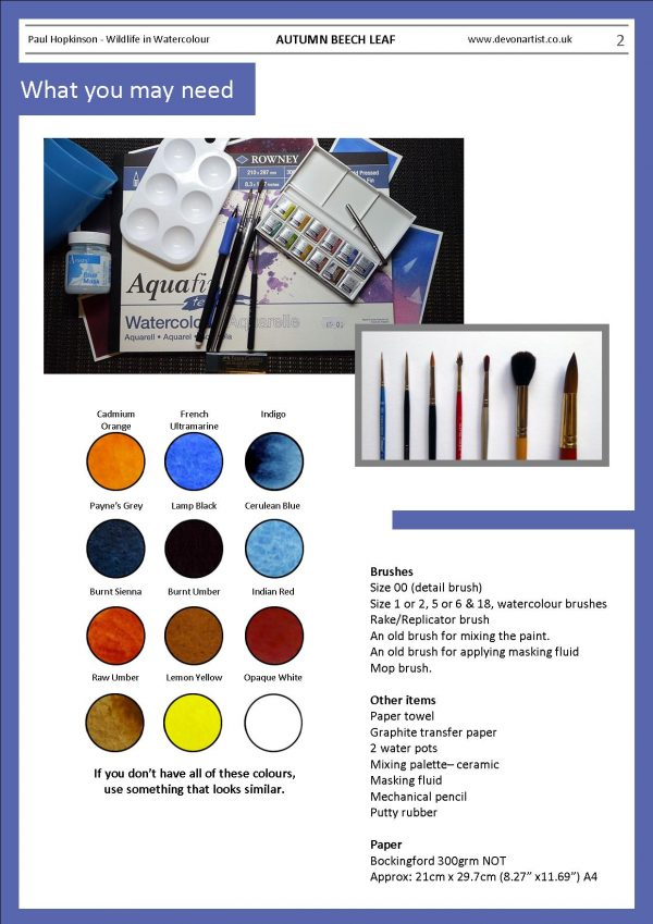 Materials needed for a watercolor leaf painting