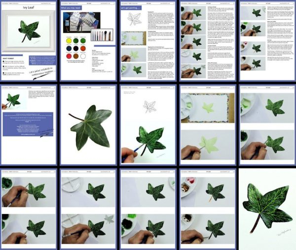 Overview of a PDF tutorial on watercolour ivy leaf painting