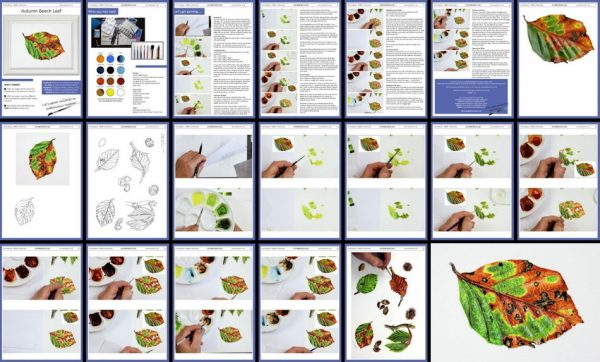 Overview of a PDF on an autumn leaf watercolour painting tutorial