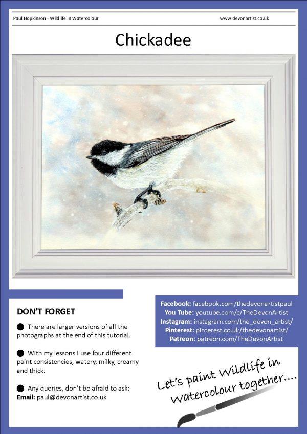 PDF watercolor tutorial on painting a chickadee bird