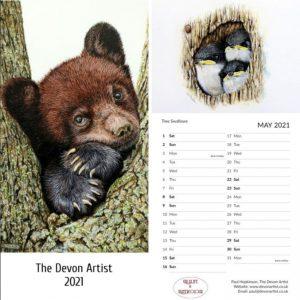 Paul Hopkinson 2021 calendars featuring watercolour wildlife paintings
