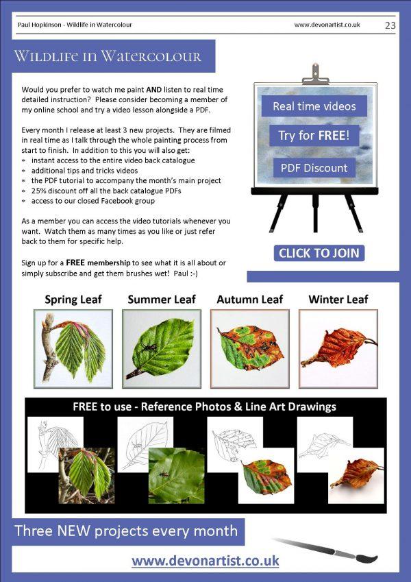 Paul Hopkinson botanical watercolor PDF lessons