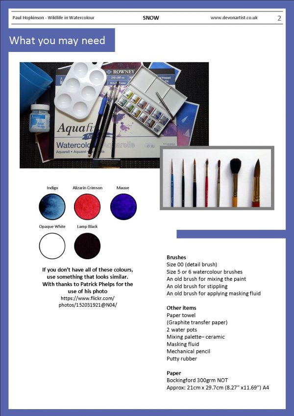 Materials needed to paint snow in watercolor