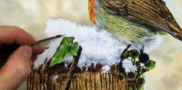 Paul Hopkinson painting realistic snow in watercolor