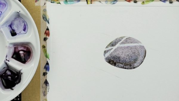 Progress photos of a watercolor stone painting - stage 2