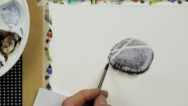 Progress photos of a watercolor stone painting - stage 3