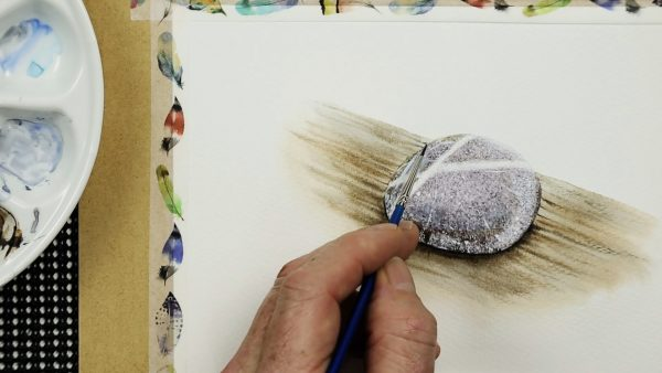Progress photos of a watercolor stone painting - stage 4