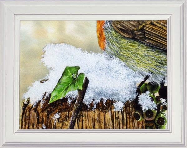 Snow watercolour tutorial displayed framed